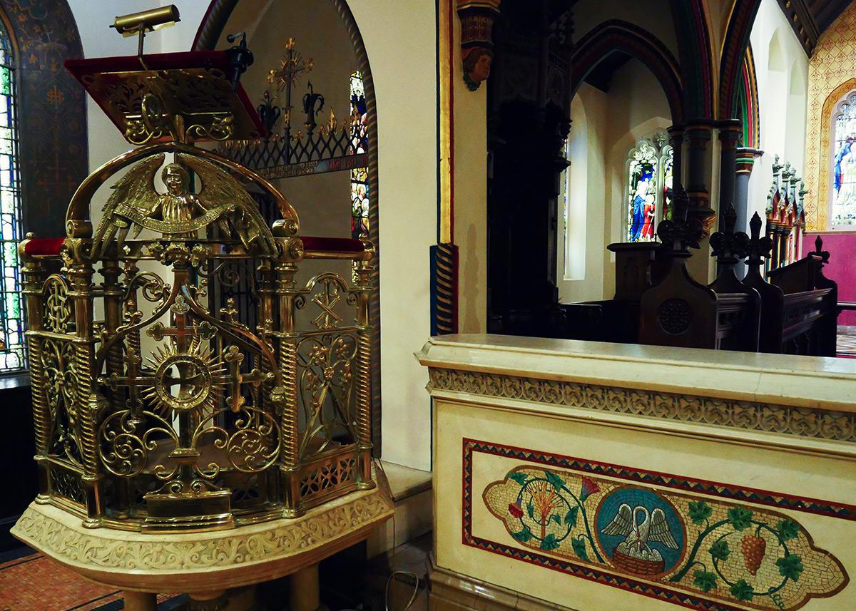 Richard Upjohn's beautiful and intricate brass filigree pulpit